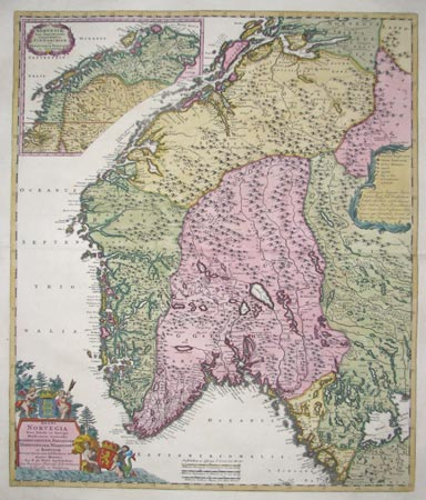 Map of Norway with a fine title cartouche
