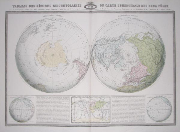 Double-hemisphere World Map on a Polar Projection