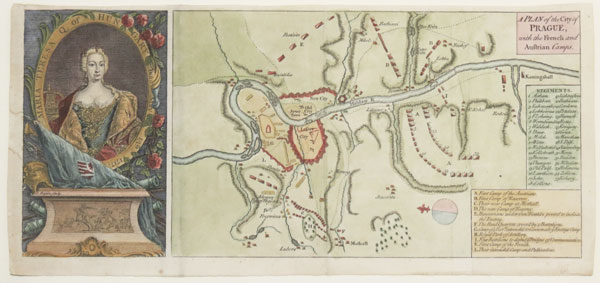 Plan of the Siege of Prague in 1742 with a portrait of Maria Theresa