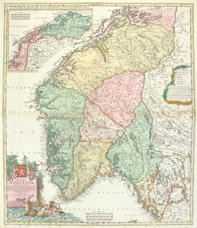 Norway map with decorative cartouche
