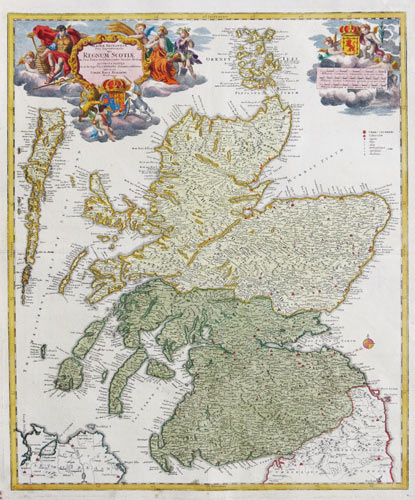 Map of Scotland with allegorical cartouches