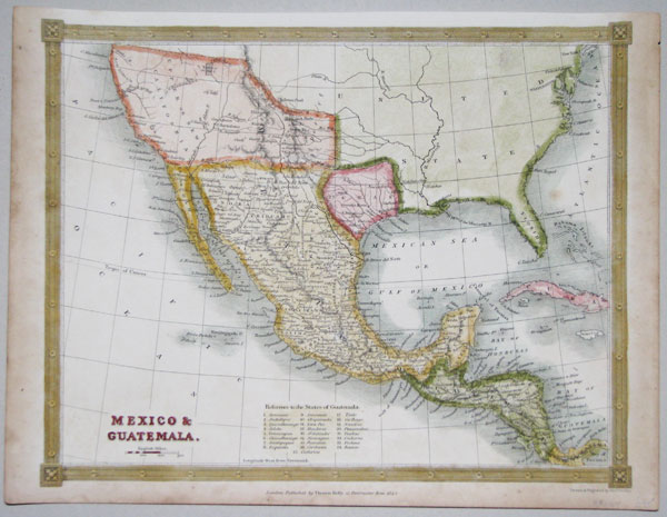 Detailed map of Mexico, with Texas marked as a Republic