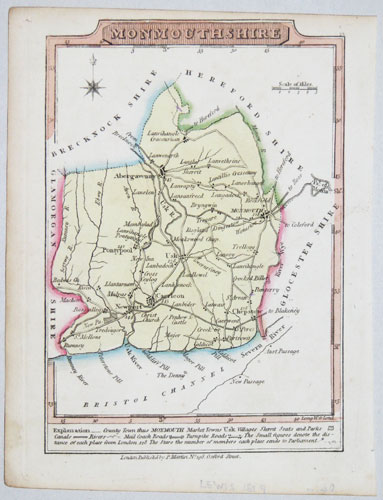 Miniature county map of Monmouthshire