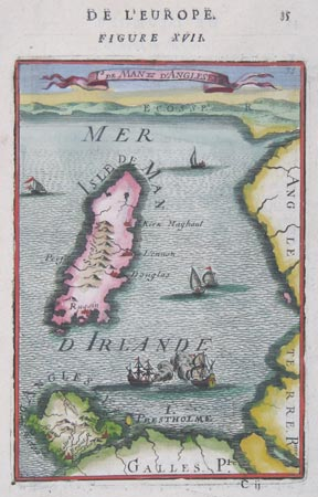 Miniature Map of the Isle of Man and Anglesey.