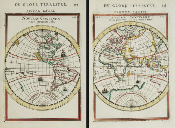 Two-sheet hemisphere world map