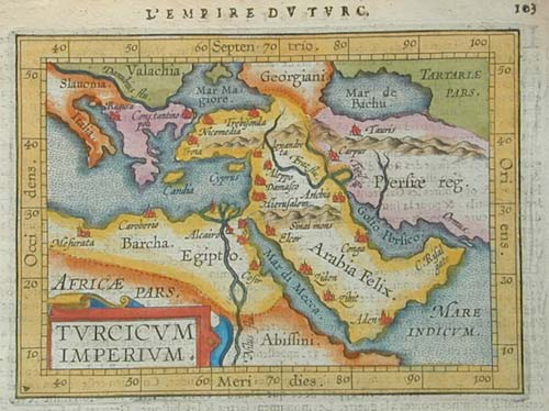 Miniature map of Turkish Empire