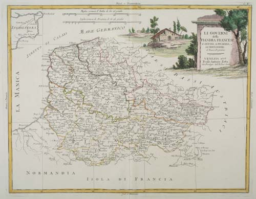 Decorative map of Northern France