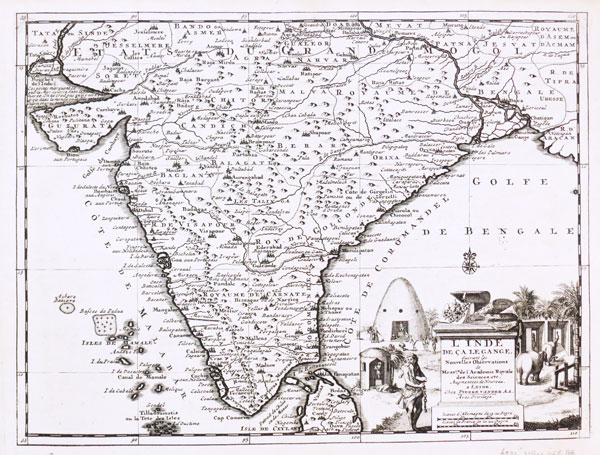Detailed map of India at the beginning of the 18th century