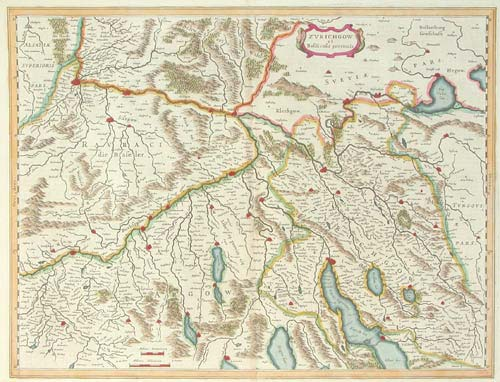 Map of Zurich, Basle and Lucerno.
