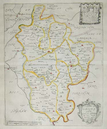 Map of Bedfordshire from the Britannia
