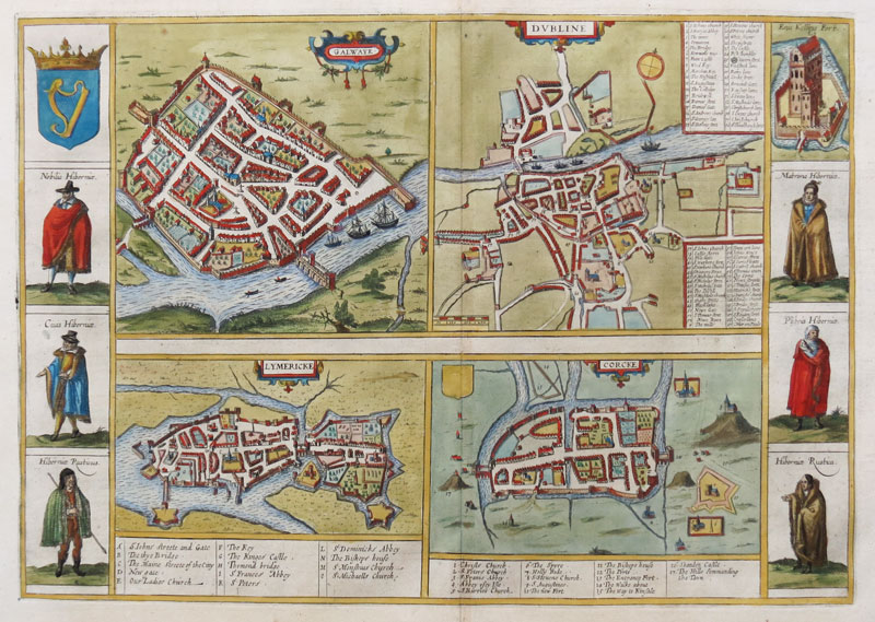 Early townplans of Galway, Dublin, Limerick & Cork